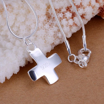silver-plated pendant necklace Small Cross collane Elegant MP