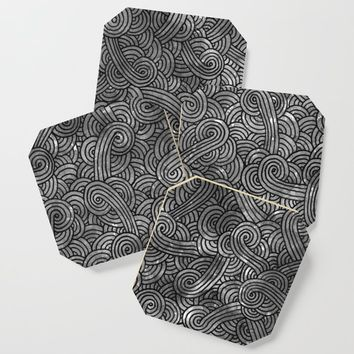 Grey and black swirls doodles Coaster by savousepate