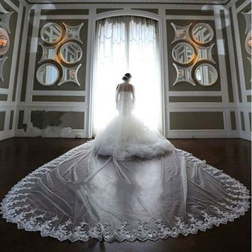 4M White/Ivory 1T Long Bridal Veil Cathedral Lace  Wedding Veils With Comb