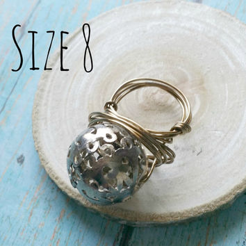 Essential Oil Diffuser Ring / Wire Wrap Ring / Wire Work Ring / Filigree Bead Ring / Mixed Metal Ring / Cocktail Ring / Gifts for Oilers