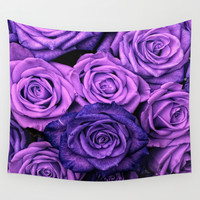 Purple Roses Wall Tapestry by Aloke Photography & Design