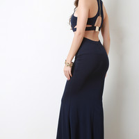 Cut Out Buckle Back Sleeveless Maxi Dress