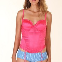HOT-PINK SULTRY SATIN SWEETHEART BUSTIER @ KiwiLook fashion