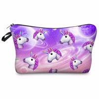 Super Fun Colorful Unicorn Rainbow Heads Photo Printed Makeup Cosmetic Zippered Pouch/Bag
