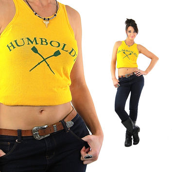 Sports shirt Graphic Humboldt racer back tank top Vintage 1970s Cropped top sleeveless tee Retro Mod Jersey Small