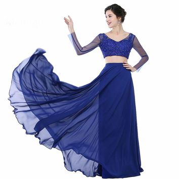 Royal Blue Two Piece Dresses Long Sleeve Formal Evening Gowns Dress