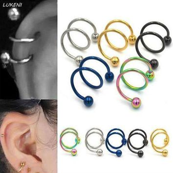 ac DCCKO2Q 6 Pcs/set Creative Gauge Ball Surgical Steel Double Spiral Twister Barbell Earring Ear Cartilage Piercing Body Jewelry