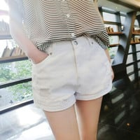 White Jeans Shorts Trousers Pants  _ 8240