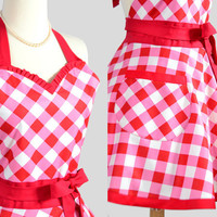Sweetheart Retro Apron / Cute Kitchen Full Retro by CreativeChics