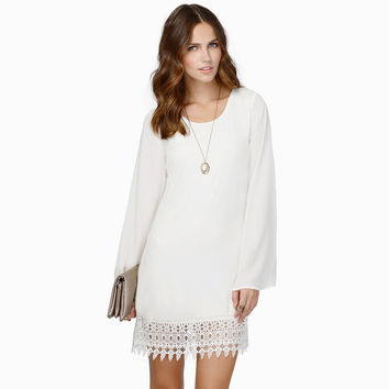 Long Angel Sleeve Casual Mini  Dress with Crochet Lace Accent