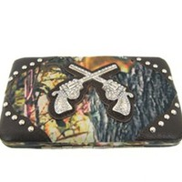 Western Rhinestone Guns Pistol Camo Flat Wallet Clutch Purse Camouflage (Brown Trim)