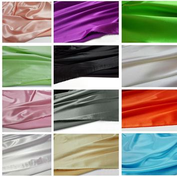 34 colors quality elastic stretch satin material super soft imitate silk satin charmeuse fabric for dress meter