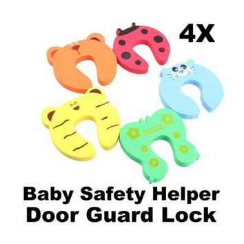 4pcs/lot Baby Safety Door Stop Finger Pinch Safety Guard Cartoon Kids Safety Helper Door Guard Lock Finger Protect Random Color