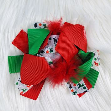 RTS Green/Red Reindeer Hairbow