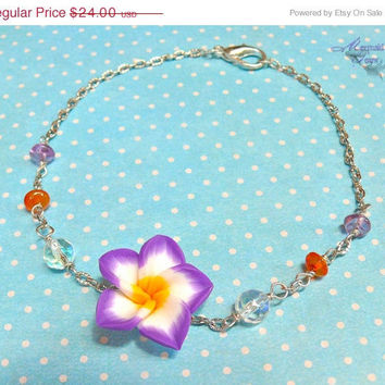 Purple Plumeria Anklet - Hawaiian jewelry, tropical flower ankle bracelet for beach brides & mermaids