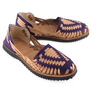 Women's Purple Woven Leather Huarache Sandals