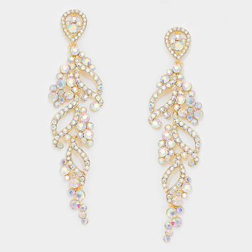 """ Seaside"" Large Rhinestone Crystal Iridescent Chandelier Earrings Gold Tone"
