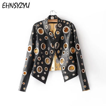 2017 New Style Fashion Heavy Metal Circle Hollow Out Leather Motorcycle Jacket Women Slim Style Spring Autumn Jacket outerwear
