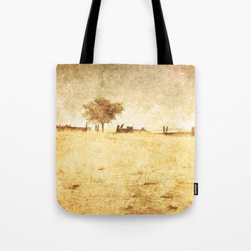 Art Tote beach bag Alone fine art photography nature photograph yellow tones tan photo minimalist summer fashion one tree rural country