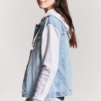 Hooded Combo Denim Jacket