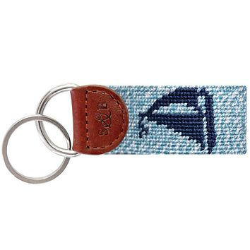Heathered Sailboat Needlepoint Key Fob by Smathers & Branson
