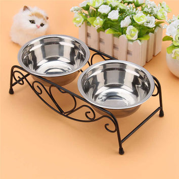 Pet Dog Double Stainless Steel Bowls with High Quality Iron Stand