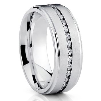 8mm - Titanium Wedding Band - Men's Titanium Ring - CZ Ring