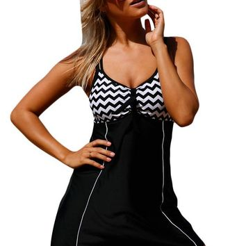 Zigzag Bandeau Top Swimdress One Piece LAVELIQ