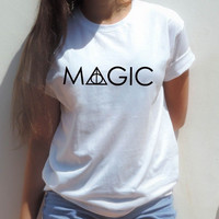 MAGIC Harry potter Clothing t shirt deathly hallows Hogwarts Weasley wand tops Women Sexy tees Summer Style T-Shirt Plus Size