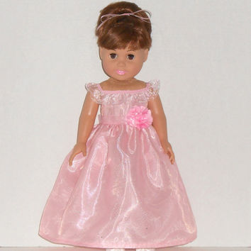 American Girl Doll Clothes Pink Special Occasion Dress Princess Gown fits 18 inch dolls