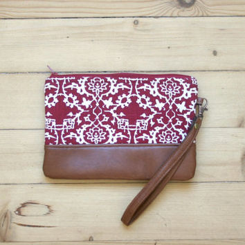 Red Linen wristlet Clutch Purse Vegan Faux leather Retro
