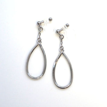 Silver Hoop Invisible Clip On Earrings Minimalist Dangle Ear