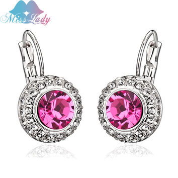 18K Gold Plated Austrian Crystal korean Fashion sapphire jewelry Round Dangle drop earrings jewelry earrings for women Y4335