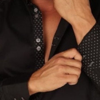 Preview Mens Black Dress Shirt w/ Black Dotted Contrast