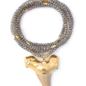 Gold & Gray | Large Shark Tooth Necklace