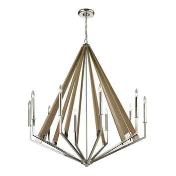 31476/10 Madera 10 Light Chandelier In Polished Nickel And Natural Wood