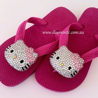 Kids Pink Havaianas Thongs or Flip Flops Featuring Hello Kitty Swarovski