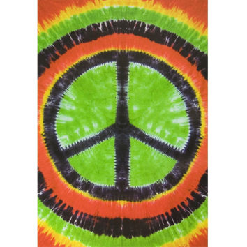 Rasta Peace Sign Tie Dye Tapestry