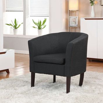New Century® Simon Linon Sofa Club Chair Linen, Black