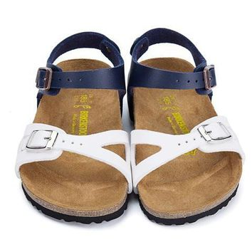 Birkenstock Leather Cork Flats Shoes Boys and girls Casual Sandals Shoes Soft Footbed Slippers-2