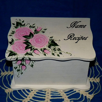 Custom Painted Recipe Box Decorative Wood Recipe Card Box Wooden Wedding Recipe Organizer Personalized Recipe Box Pink Roses Victorian White