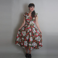 80s does 50s FLORAL Dress - Vintage Pin Up Cotton Circle Skirt Dress - s