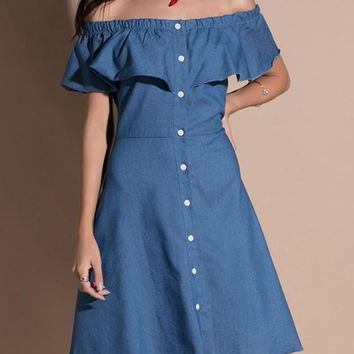 Blue Ruffle Single Breasted Off Shoulder Denim Flare Out Casual Midi Dress
