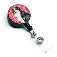 Bernese Mountain Dog Love Hearts Retractable Badge Reel or ID Holder with Clip