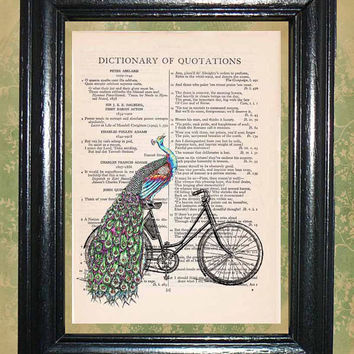 Peacock Riding a Bicycle - Vintage Dictionary Book Page Art Upcycled Page Art Wall Decor Art Print