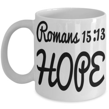 Bible Verse Catholic Mugs Coffee Mug Art Christianity Coffee Cup Religious Art Print Artsy Jesus Christ Decorative Pencil Holder Black Ceramic 11 oz pba Free Dishwaher Safe Easter 2017 2018 Romans 15:13 Hope Mugs