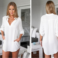 2016 Women V neck Long Sleeve Sexy Party Mini Dress Shirts Vestidos Summer Casual Loose Beach Style Dress Plus Size Y0543