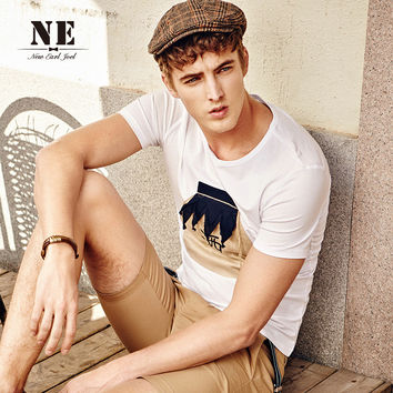 Summer Strong Character Round-neck Slim Short Sleeve T-shirts [7951207939]