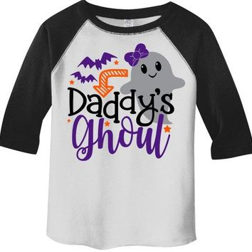 Girl's Cute Halloween Shirt Daddy's Ghoul Ghost Toddler Shirts Adorable Halloween Top 3/4 Sleeve Raglan