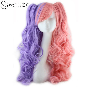 Similler Synthetic Purple Mixed Pink Long Curly Lolita Cosplay Wigs For Women 2 Clip-On Tails Heat Resistant Pigtail